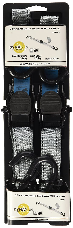 2x DynaSun fh45619Charge Cargo Lash Sangles bagages fixation de boucle de dégagement rapide 25mm 3m Pince à J Crochet d'arrimage