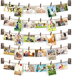 Emfogo Collage Picture Frames Hanging Photo Display Rustic Wood Photo Frame Collage with 30 Wood Clips Wall Art Decoration for Office Nursery Room Dorm Bedroom …