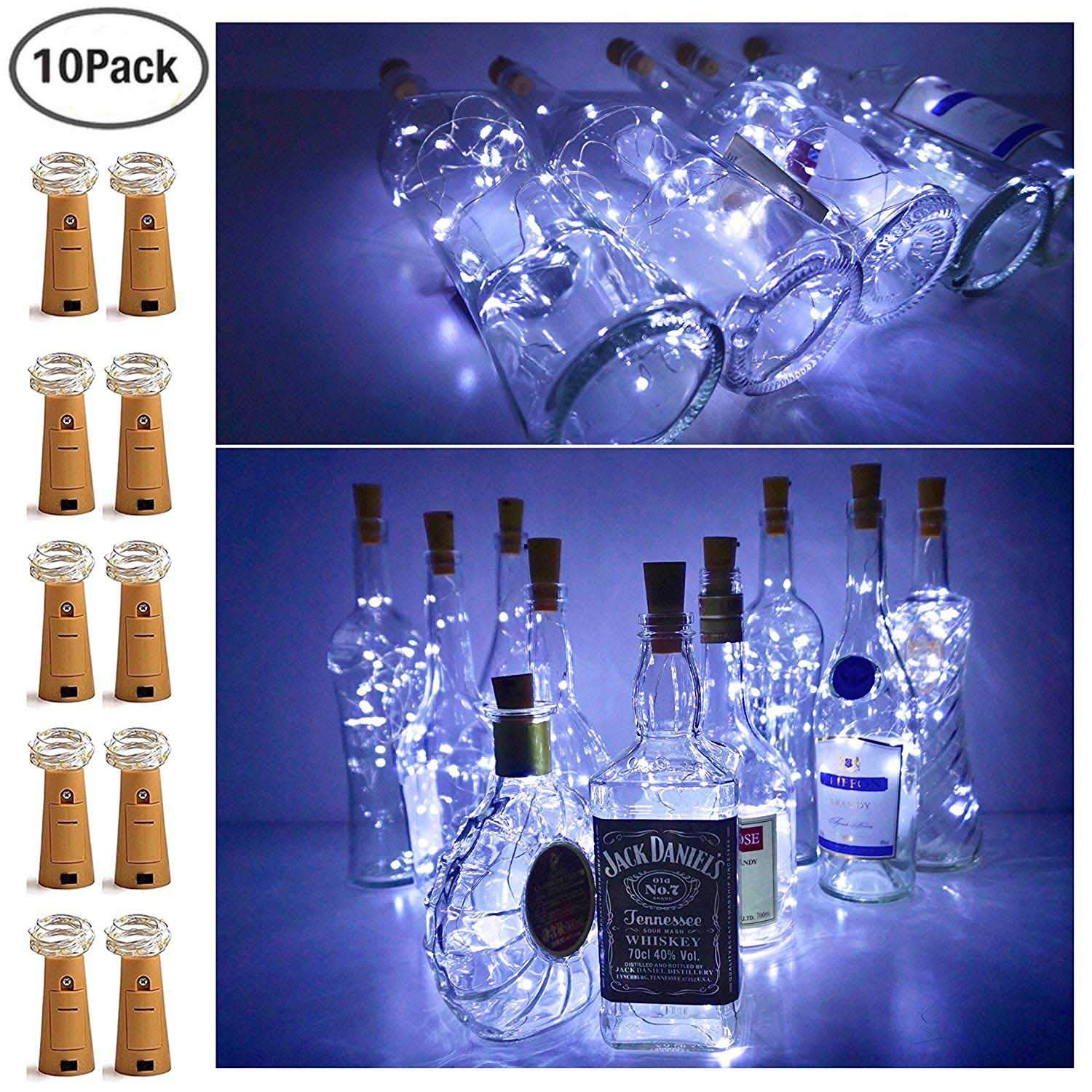 20 LED Bottle Cork String Lights Wine Bottle Fairy Mini Copper Wire, Battery Operated Starry lights for DIY Christmas Halloween Wedding Party Indoor Outdoor Decoration,10 Pack (Cool White)