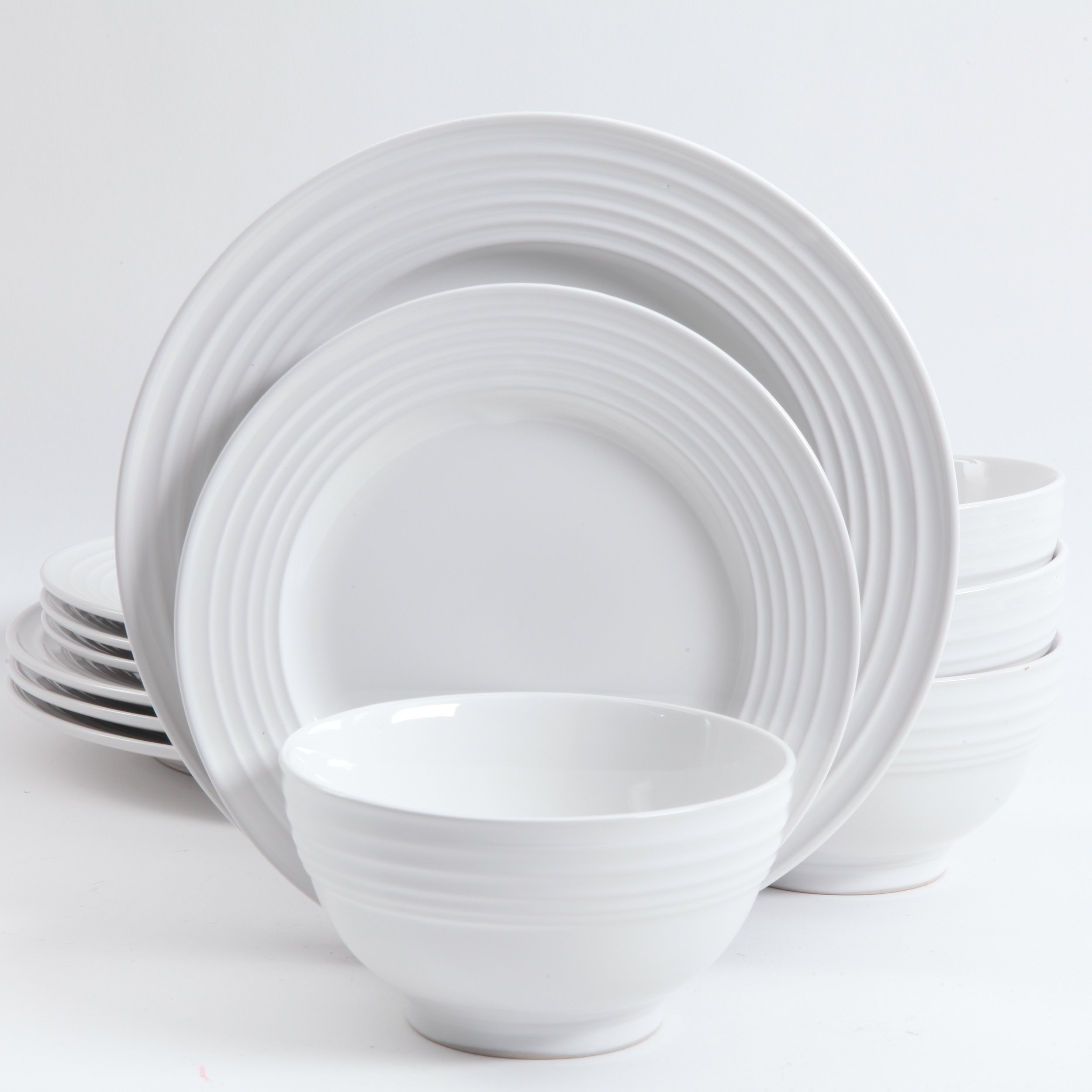Gibson Home 12 Piece Plaza Cafe Round Dinnerware Set with Embossed Stoneware, White by Gibson Home (Image #3)