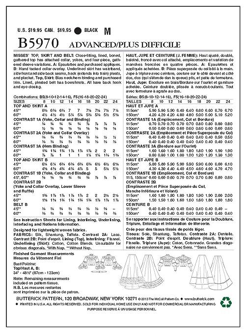 Butterick Patterns B5970 F5 - Patrones de costura para faldas y ...