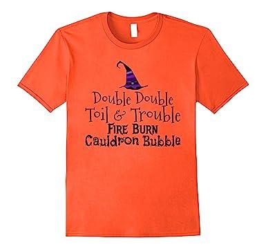 Mens Double Double Toil & Trouble Fire Burn Cauldron Bubble shirt 2XL Orange