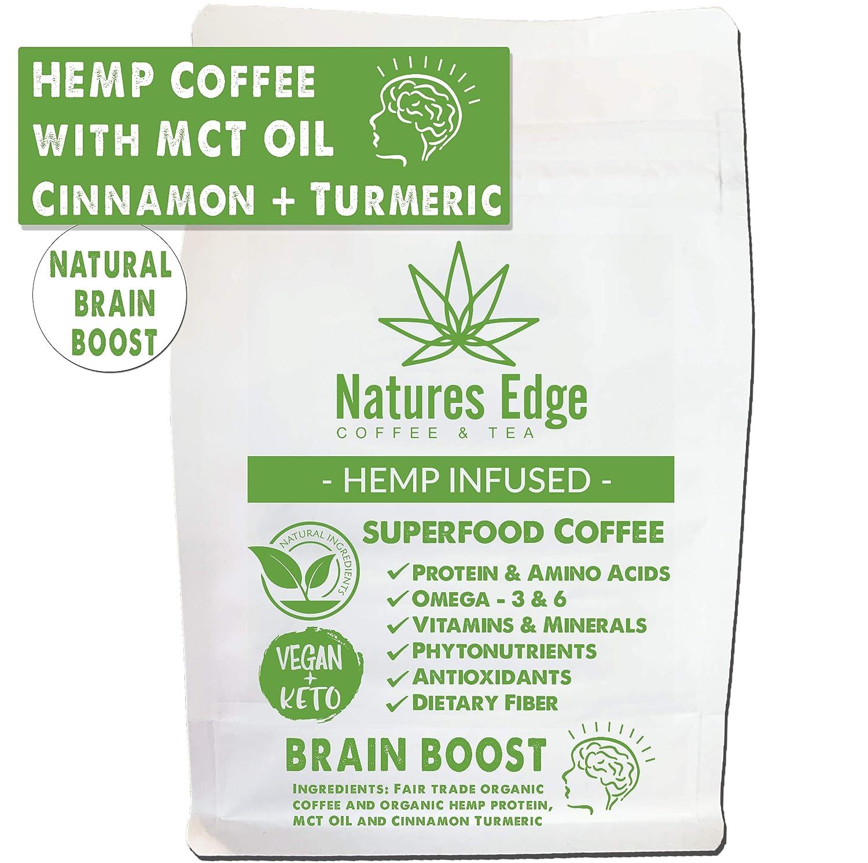 Natures Edge Brain Boost Blend - Medium Roast Hemp Coffee Ground with MCT Oil, Cinnamon, Turmeric, Antioxidants, Minerals, Fiber and Heart-Healthy Unsaturated Fats - 12oz