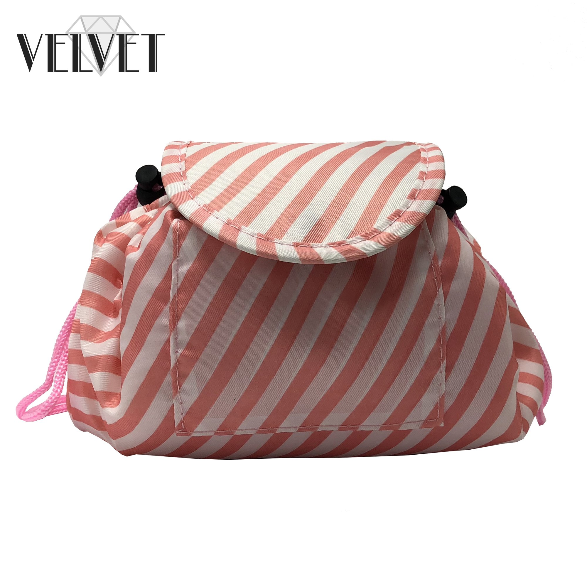 Toiletry Travel Bag   Lazy Drawstring Makeup Organizer with Magnetic Snap   Waterproof Cosmetic Pouch for Women, Men, Girls (Large 18 inches, White/Pink Stripes) by VelvetBags (Image #7)