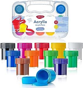 Daco - Juego de pinturas acrílicas (12 colores con caja de viaje y ...
