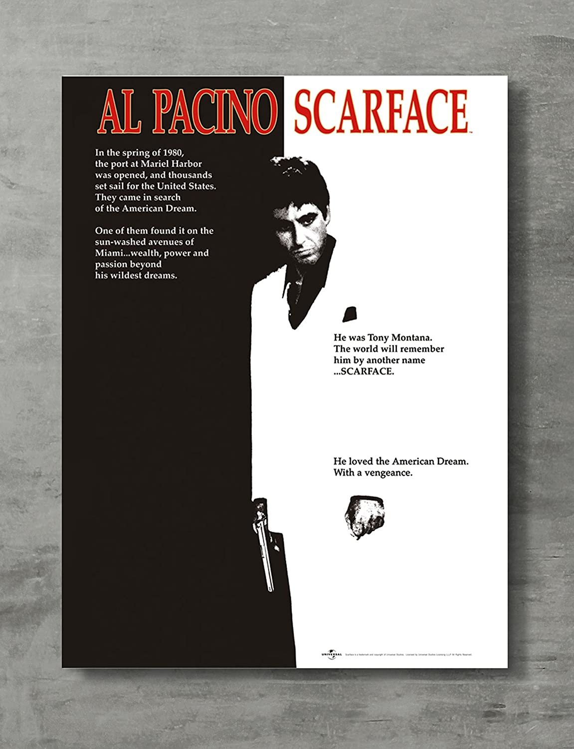 "Scarface Poster - Scarface Movie Canvas Print al Pacino Tony Montana Wall Art Posters Print Standard Size 18""x24"" Inches"