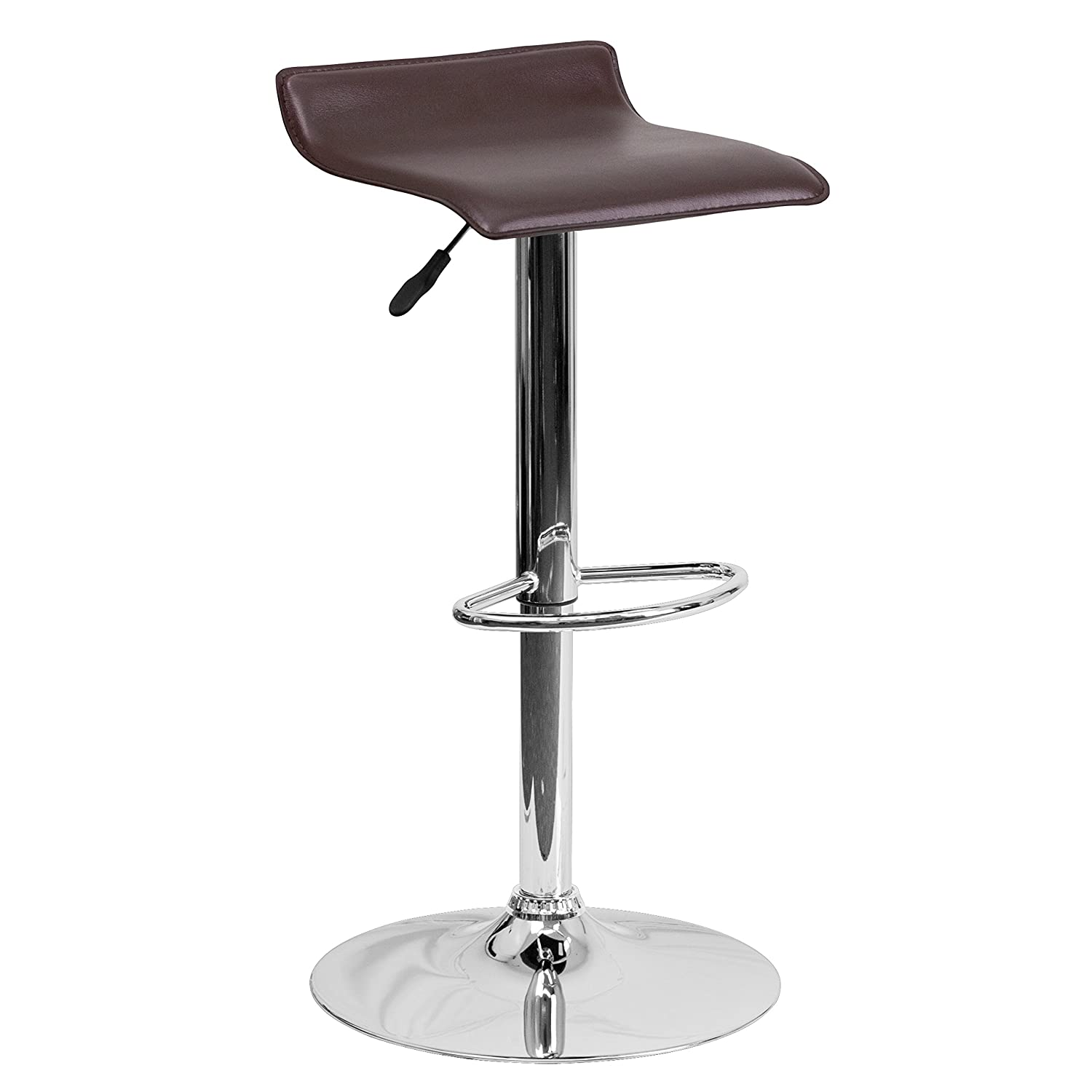 Flash Furniture Contemporary Brown Vinyl Adjustable Height Barstool with Solid Wave Seat and Chrome Base