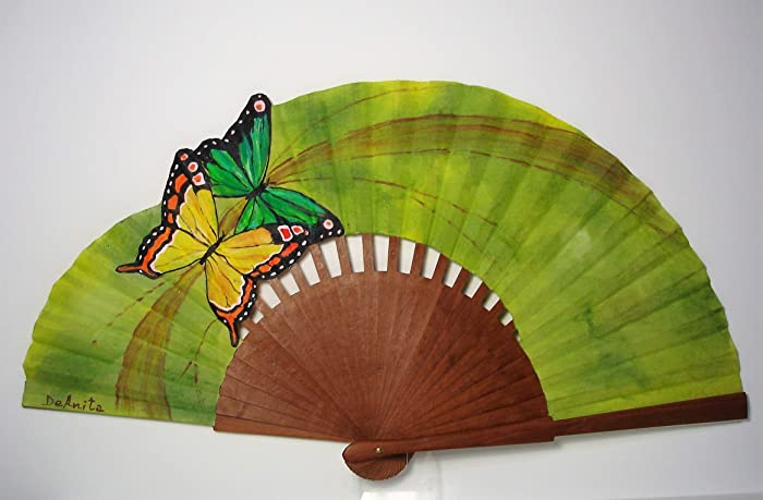 "Abanico español pintado a mano""Dúo de mariposas"""
