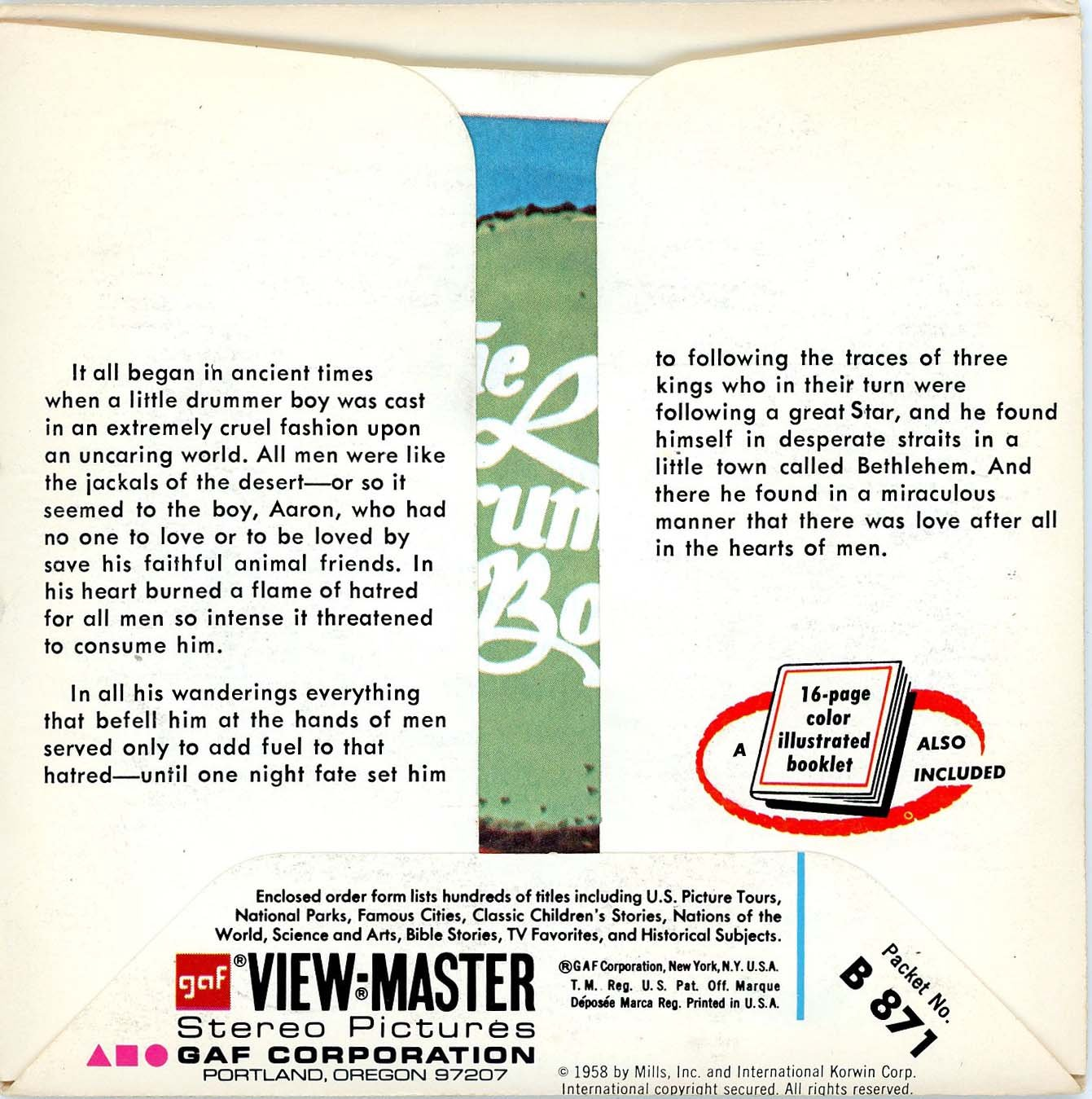 Classic ViewMaster - The Little Drummer Boy - an NBC Television Christmas Special - Unsold store stock - never opened by 3Dstereo ViewMaster (Image #2)