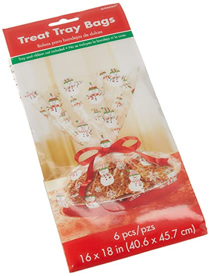 Amscan Snowman Cookie Tray Cello Bag Christmas Party Favour Giveaway (6 Sets), 18""