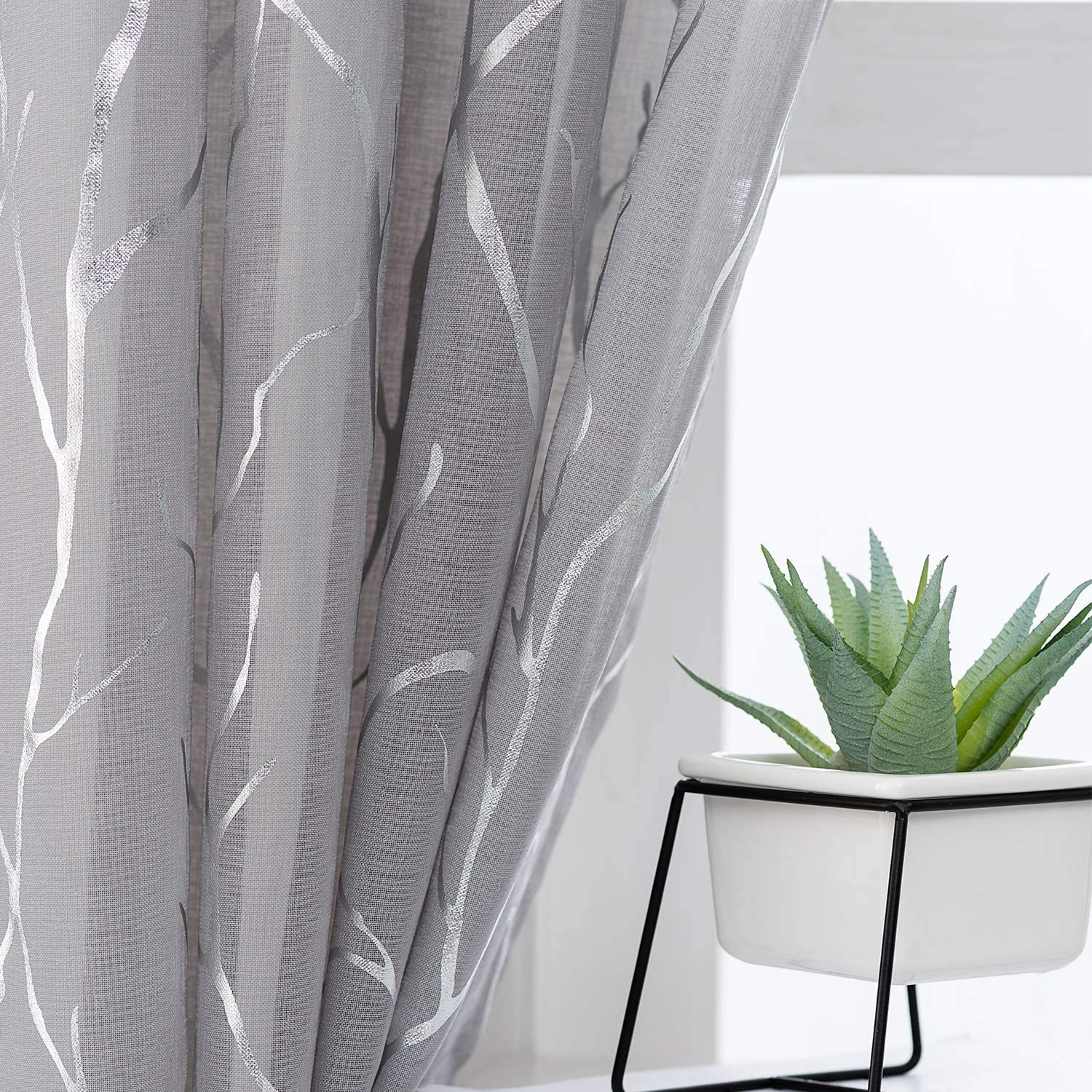 Kotile Tree Pattern Sheer Curtains - Metallic Silver Branch Printed Grommet Grey Sheer Curtains 63 Inch Length Light Filter Voile Drapes for Bedroom, 52 x 63 Inch, 2 Panels, Gray