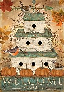 Briarwood Lane Welcome Fall Birdhouse Primitive House Flag Welcome Pumpkins 28