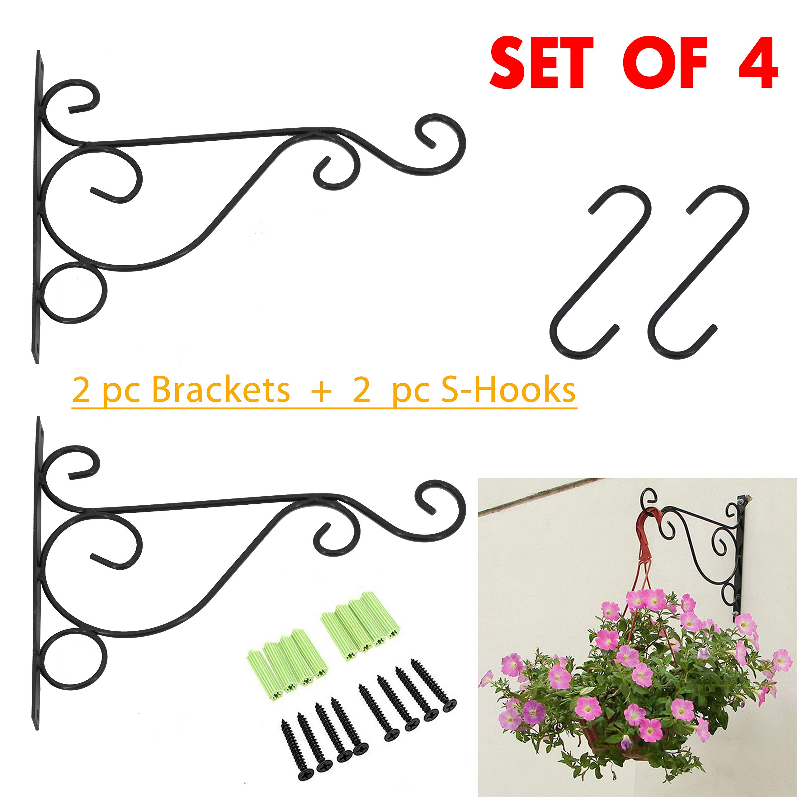 2 PCS Wall Hanging Plants Bracket Premium Thicken Iron Decorative Planter Hook with 2 PCS 6'' S-Hooks for Lanterns,Planters,Hanging Bird Feeders,Ornaments (Black) by OVOV