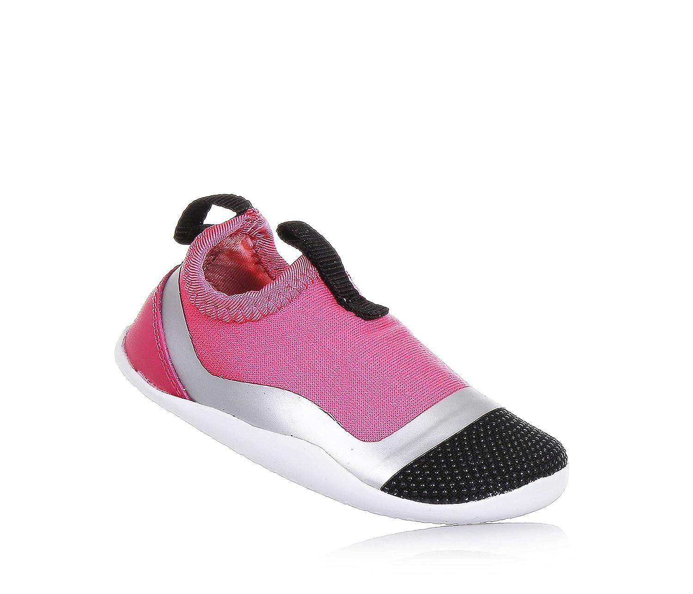 Bobux Chaussure Rose, Noire et Argent en Tissu, Modèle Step Up, Pièce en Cuir à l'Arrière, Logo à l'Arrière, Bébé Fille, Filles