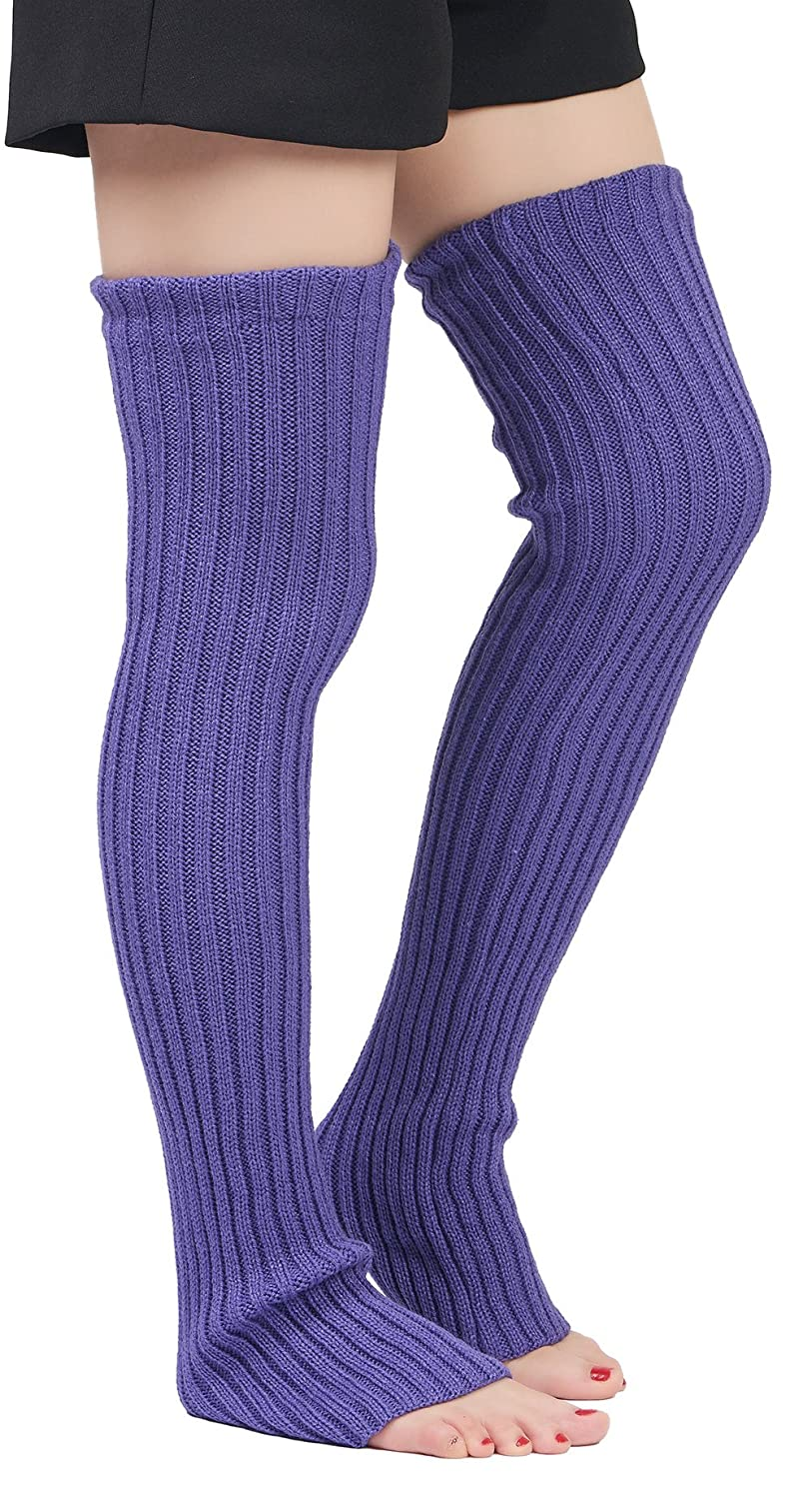 Leotruny Women's Winter Over Knee High Footless Socks Knit Leg Warmers WLW1025-B