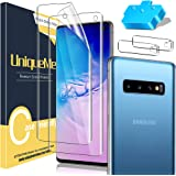 [2+2 Pack] UniqueMe Flexible TPU Screen Protector and Tempered Glass Camera Lens Protector Compatible for Samsung Galaxy S10,