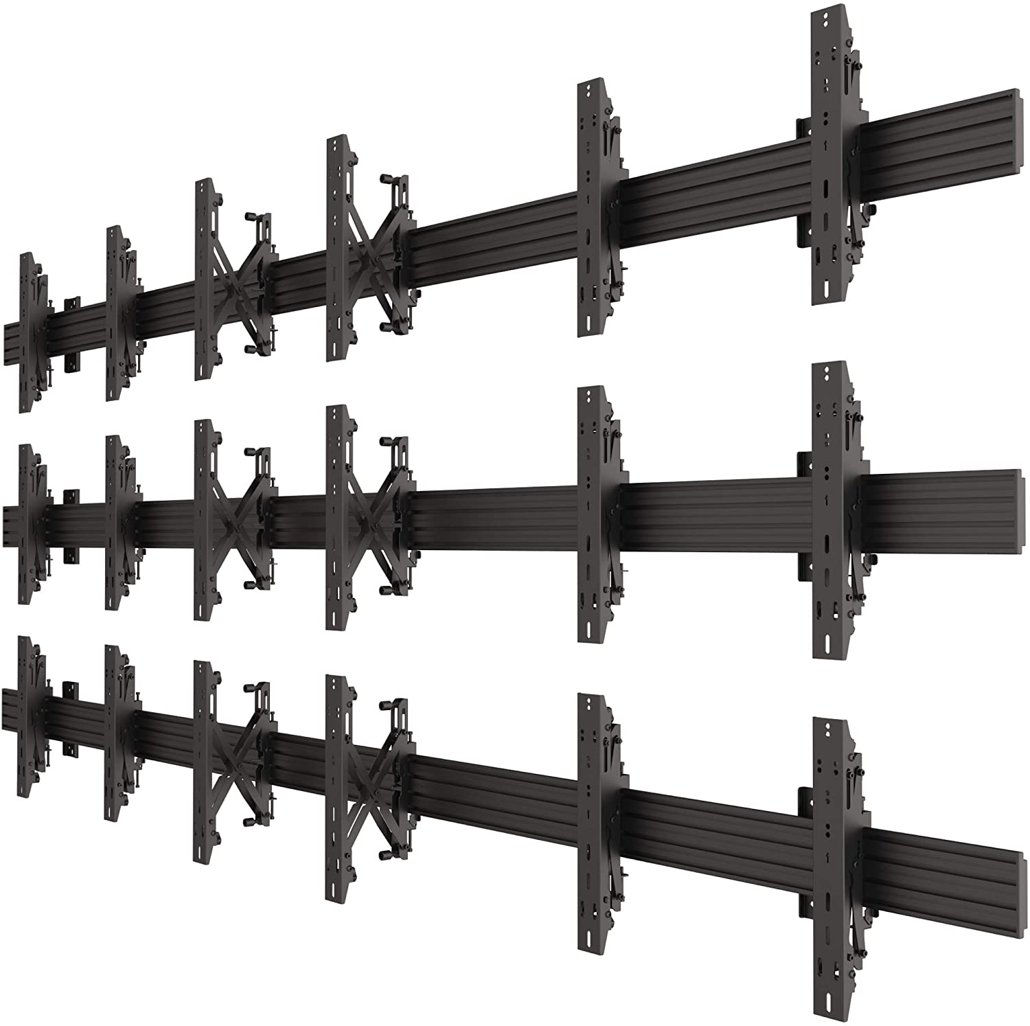 3x3 Video Wall Pop Out Mounting System Horizontal Rails Fixed Displays with with Micro Adjustment Arms Vesa Universal TV Television Monitors