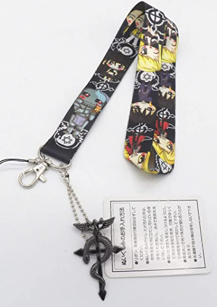 Fullmetal Alchemist Black Keychain Holder Lanyard