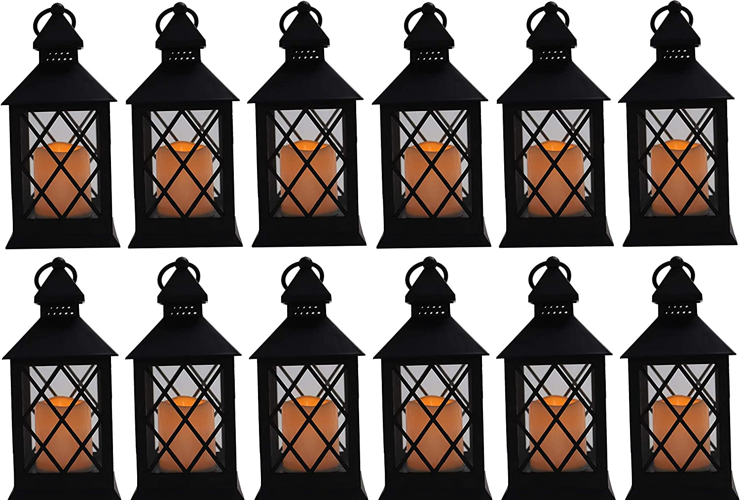 """10"""" Vintage Rustic Decorative Electric Candle Lantern Lamp with LED Candle Light for Indoor and Outdoor Decor, Battery Powered Candles Great for Wedding Centerpieces, Garden and Home (12, Style 8)"""