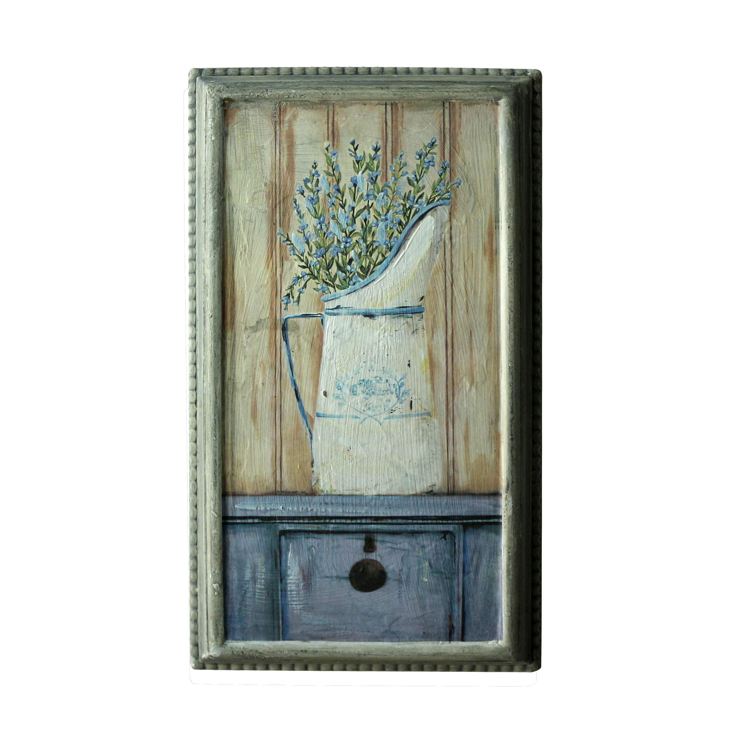 CVHOMEDECO. Rustic Primitive Hand Painted Wooden Frame Wall Hanging 3D Painting Decoration Art, Lavender in Milk Jar Design, 8-1/2'' x 14-3/4''
