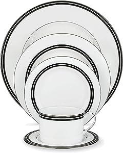 Kate Spade New York Union Street Dinnerware 5-Piece Place Setting, White Bone China with Black and Platinum Details