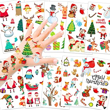 HOWAF 110pcs Navidad Tatuajes temporales para niños, Falso Árbol ...