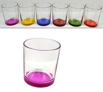 Posizione Bicchieri In Tavola.Takestop Set 6 Bicchieri Fondo Colorati In Vetro Da Tavola