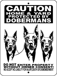 amazon doberman pinscher dog sign 9 x 12 aluminum  doberman pinscher aluminum dog sign