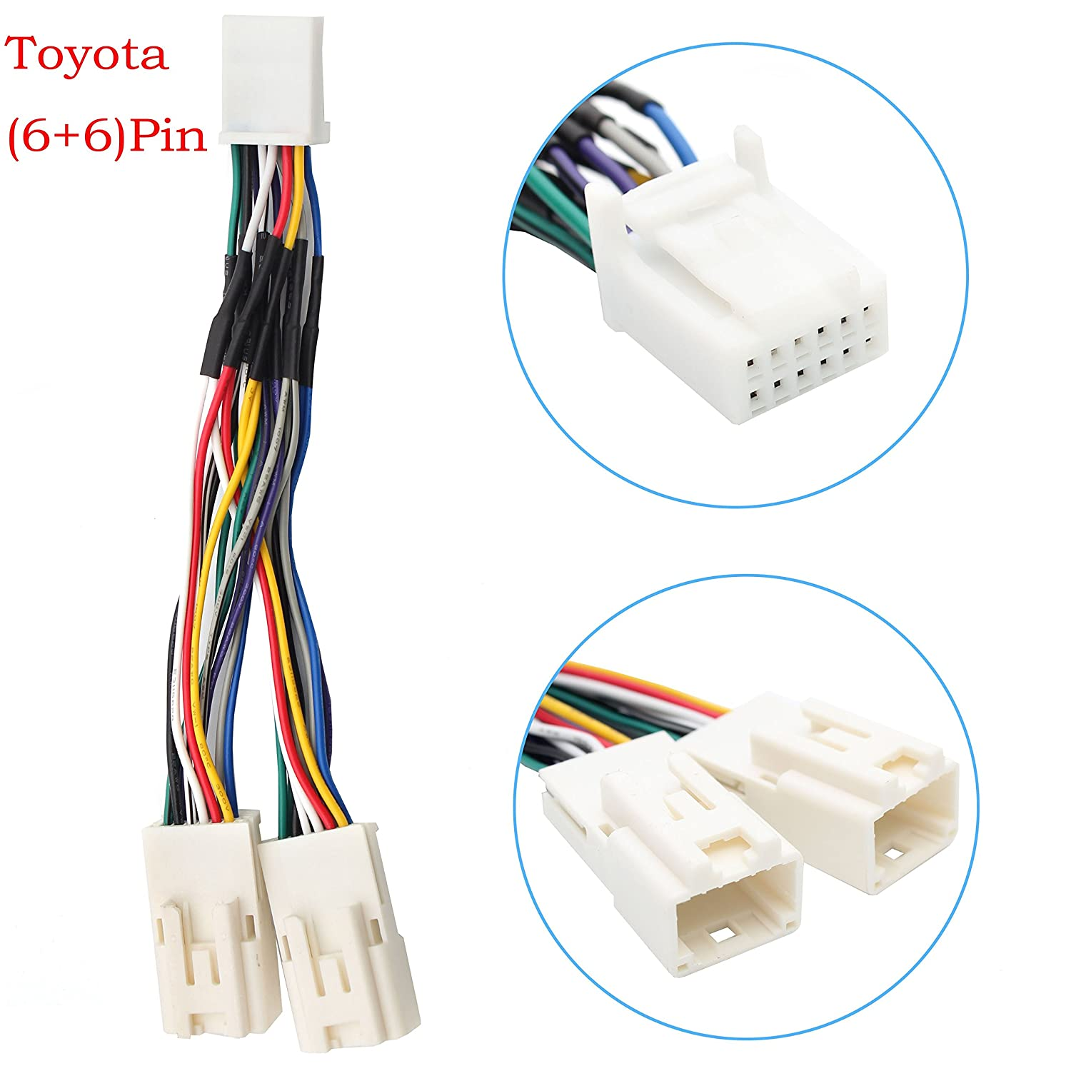 6+6 Pin 2003-2014 Toyota Camry Corolla Highlander RAV4 Yaris Auxillary Adapter,Yomikoo Y Cable Radio Wiring Harness for USB Adapter CD Changer Navigation Device Fit for Toyota