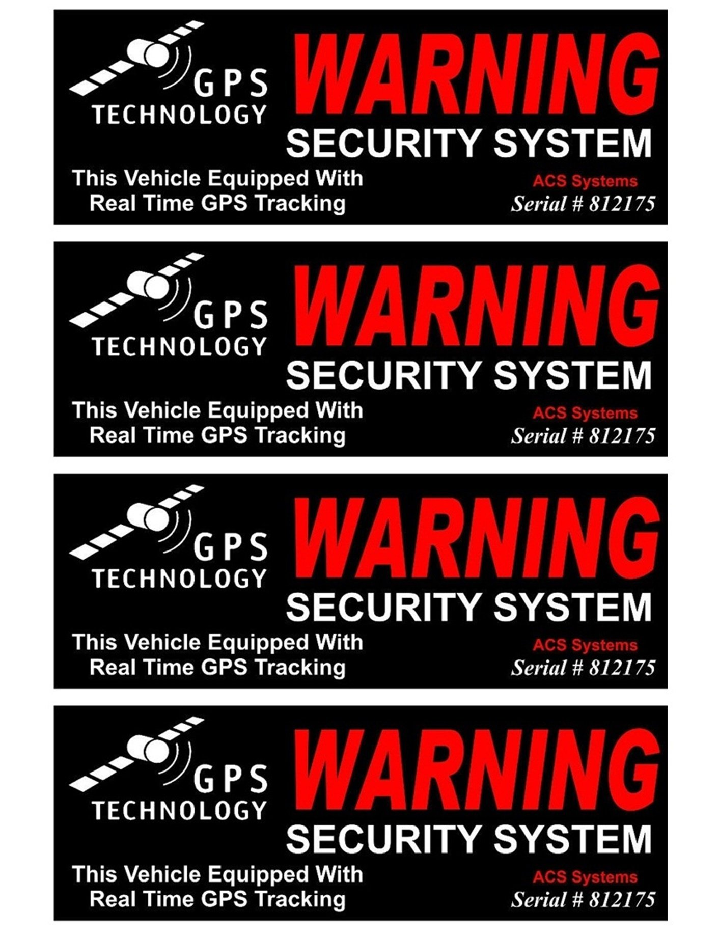 4 Pc Convincing Unique Warning GPS Tracking Security System Technology This Vehicle Equipped with Real Time Inside Adhesive Sticker Sign Window Premises Hour Trespassing House Neighbor Size 4.5''x1.5''