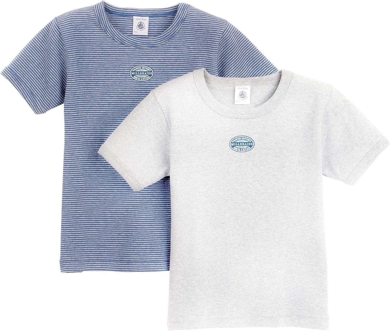 5 Years Petit Bateau Little Boys 2-pk S//S Top Blue//Grey