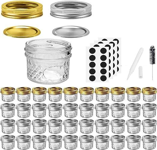 DIY Magnetic Spice Jars Honey Baby Foods Ideal for Jam Shower Favors VERONES Mason Jars Canning Jars Wedding Favors 4 OZ Jelly Jars With Regular Lids and Bands 40 PACK