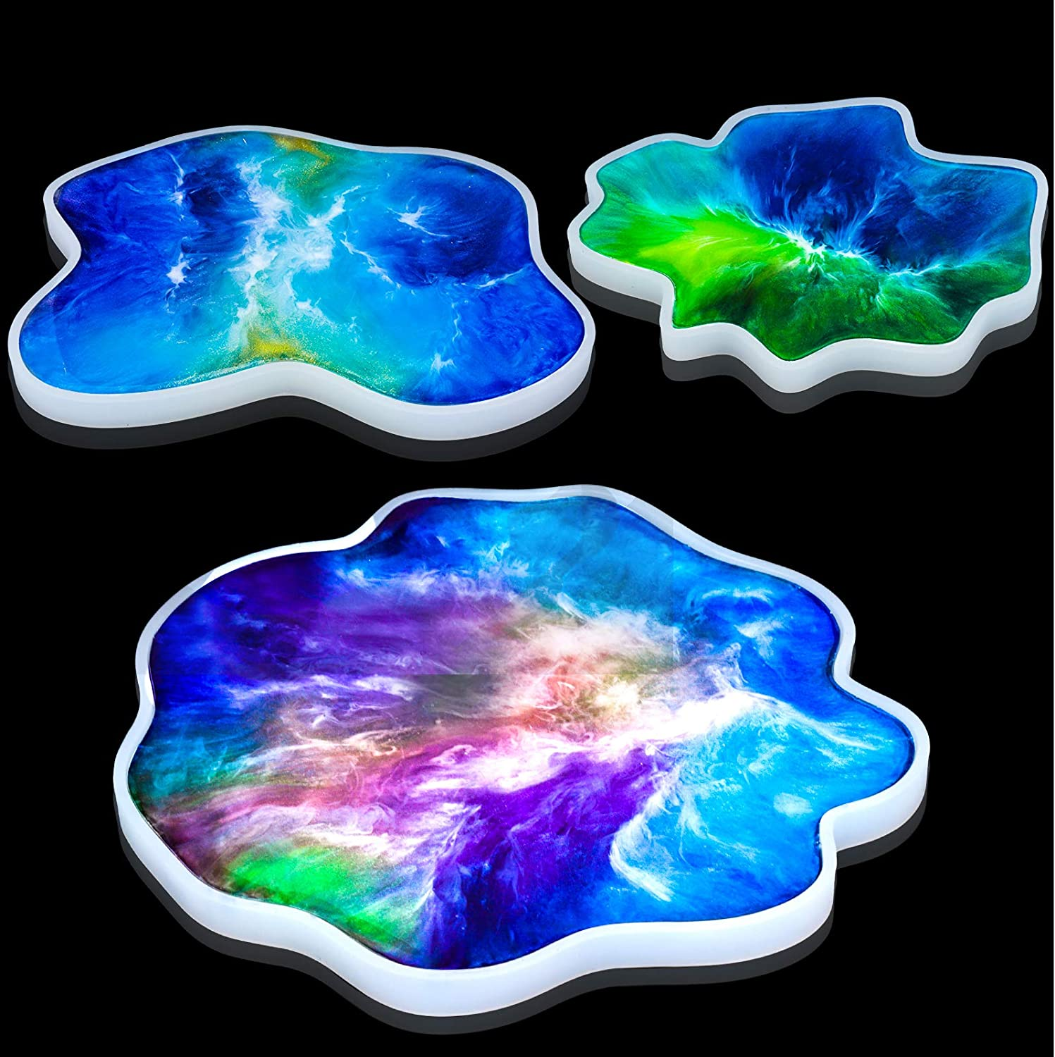 Irregular Silicone Coaster Mold for Making Geode Coasters Agate Coasters Large /& Thick Resin Coaster Mold for Epoxy Resin and Polymer Clay Resin Easy Geode Coaster Mold