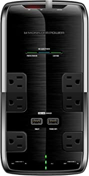 Monster Power Platinum 600 6-Outlet/2-USB Surge Protector Strip