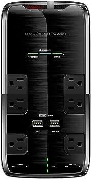 Monster Power Platinum 600 6-Outlet/2-USB Surge Protector Strip