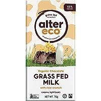 Alter Eco Grass Fed Milk with Rice Crunch Organic Chocolate Bar, 75 g