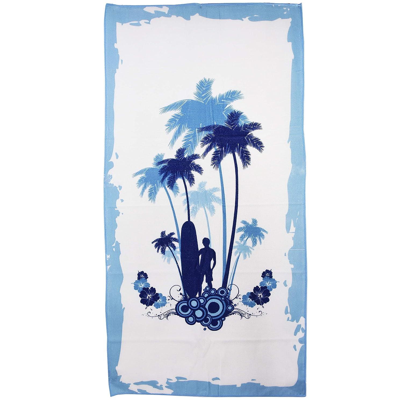 Grande de microfibra toalla de playa de la gimnasia de los deportes de Camping viaje ligero 4 diseños de furgoneta palma de color azul o rosa 75 x 150 cm: ...