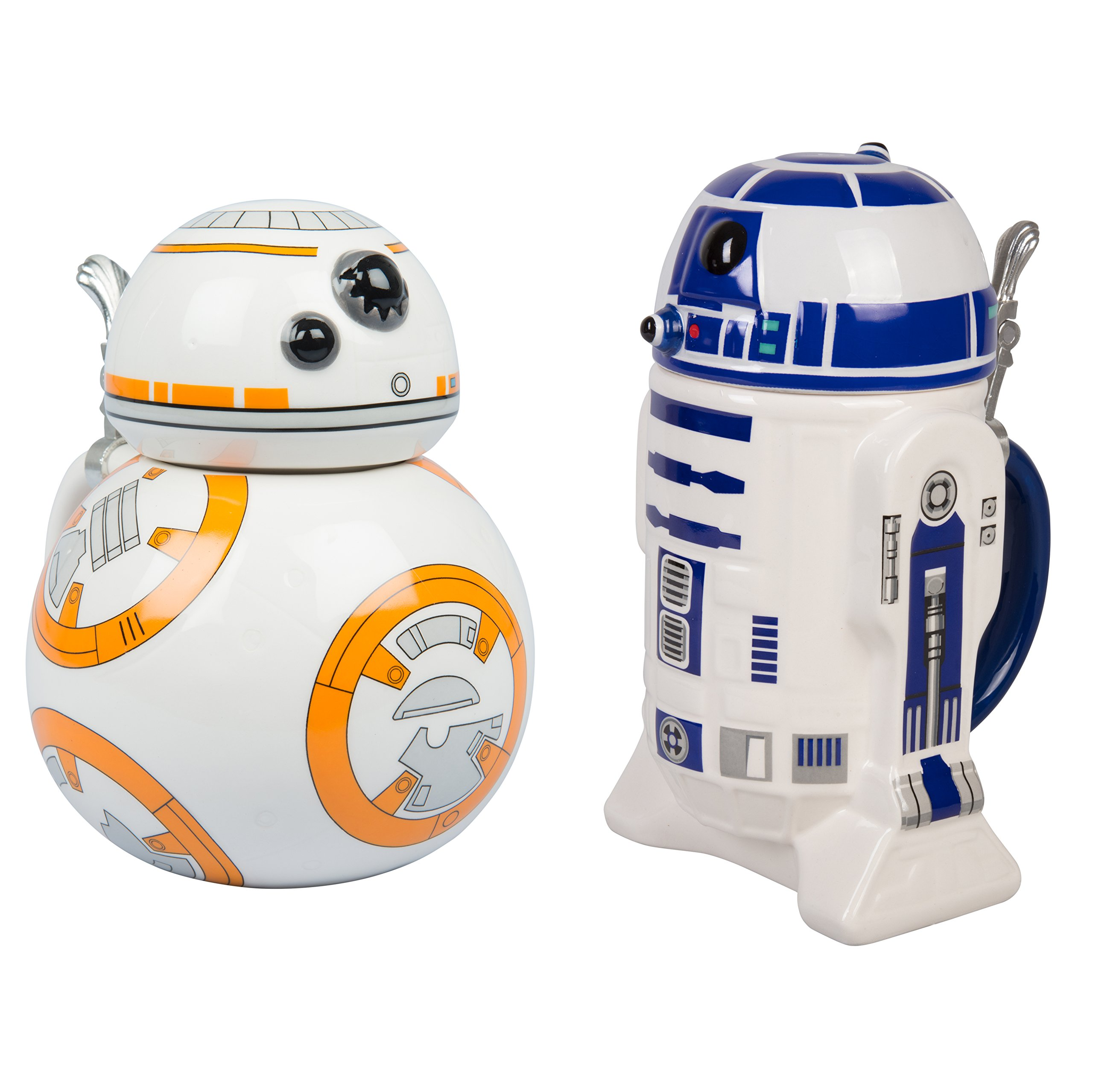 Star Wars BB-8 and R2-D2 Ceramic Beer Steins with Hinged Lids - Set of 2-32 oz