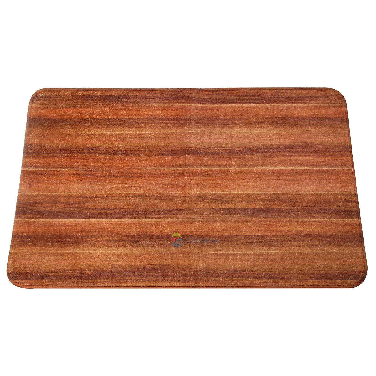 Newplenty Doormat Entrance Floor Rug Indoor Mat Non-slip Flannel for Bedroom Bathroom Living Room Kitchen Home Decorative 60x40CM (Wood Grain)