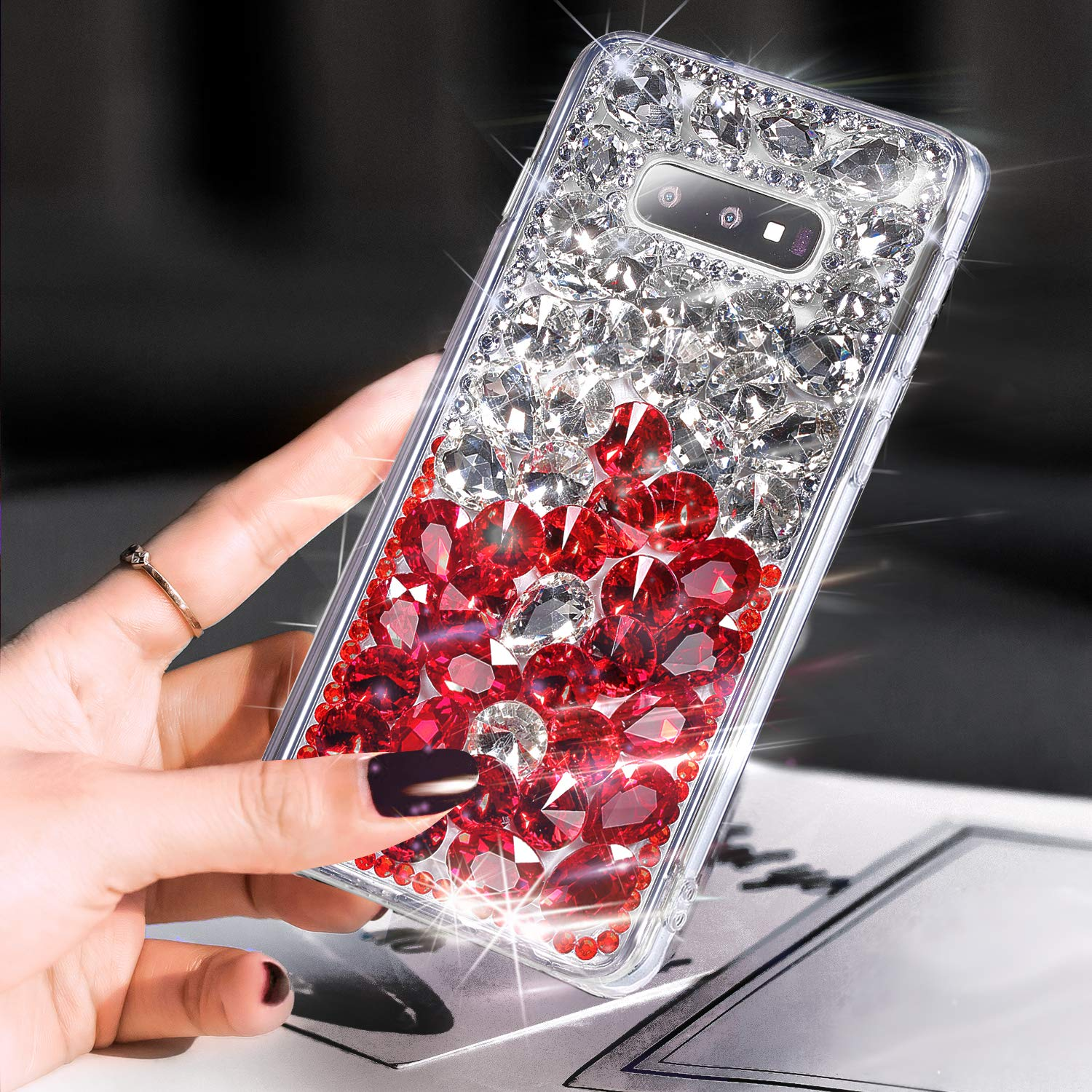 Galaxy S10e Case,Galaxy S10e Diamond Case Cover,ikasus 3D Handmade Bling Rhinestone Diamonds Luxury Sparkle Rhinestones Case Full Crystals Bling Diamond Case Cover for Galaxy S10e,Red+Silver by ikasus