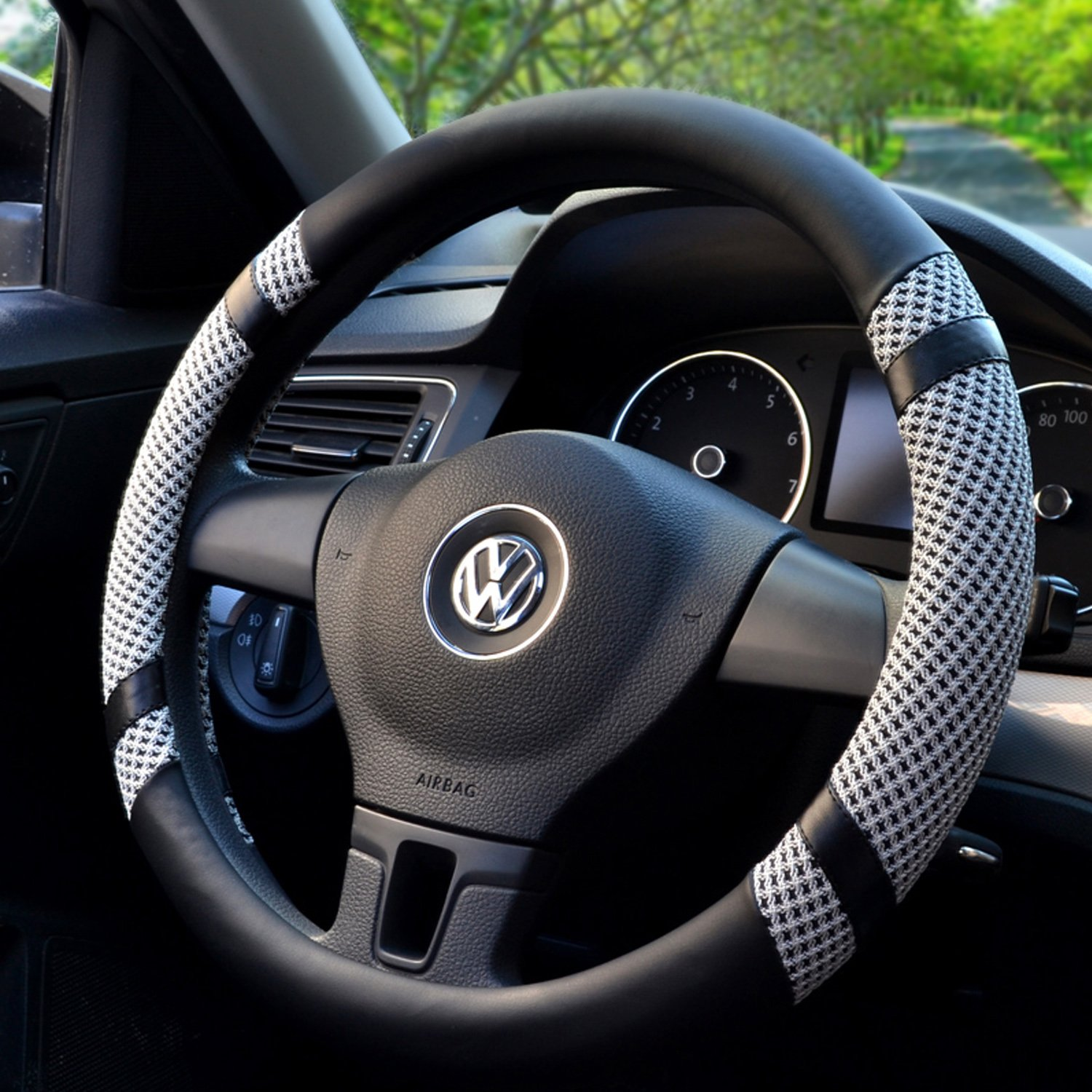 How To Unlock Steering Wheel >> Bokin Steering Wheel Cover Microfiber Leather Viscose Breathable Anti Slip Odorless Warm In Winter Cool In Summer Universal 15 Inches Gray