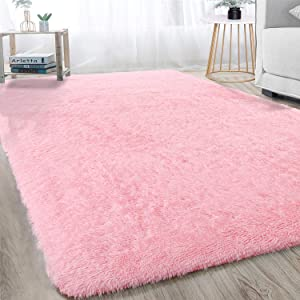 Ultra Soft Modern Shag Area Rugs Bedroom Livingroom Carpet, Fluffy Plush Baby Girls Nursery Dorm Room Warm Home Decorative Rectangle Accent Rugs 4x6FT, Pink