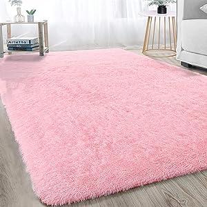 Ultra Soft Modern Shag Area Rugs Bedroom Livingroom Carpet, Fluffy Plush Baby Girls Nursery Dorm Room Warm Home Decorative Rectangle Accent Rugs 4x6FT, Pink