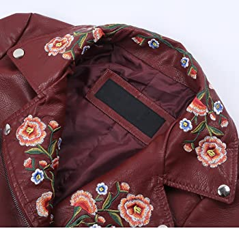 Women's Casual Embroidery Floral Pu Jacket Faux Leather Coats Outwear