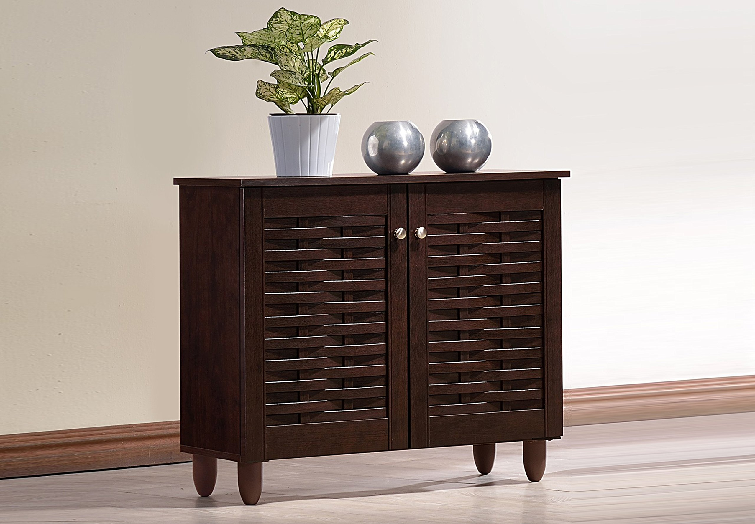 Baxton Studio Wholesale Interiors Winda Modern and Contemporary 2-Door Dark Brown Wooden Entryway Shoes Storage Cabinet by Baxton Studio