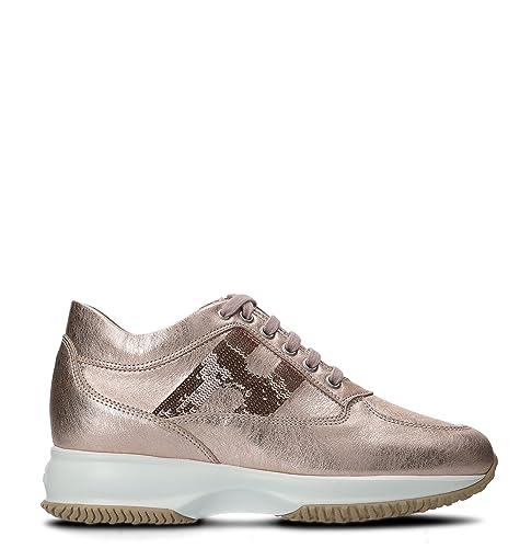 Hogan Mujer HXW00N05641I6EM600 Rosa Cuero Zapatillas: Amazon.es: Zapatos y complementos