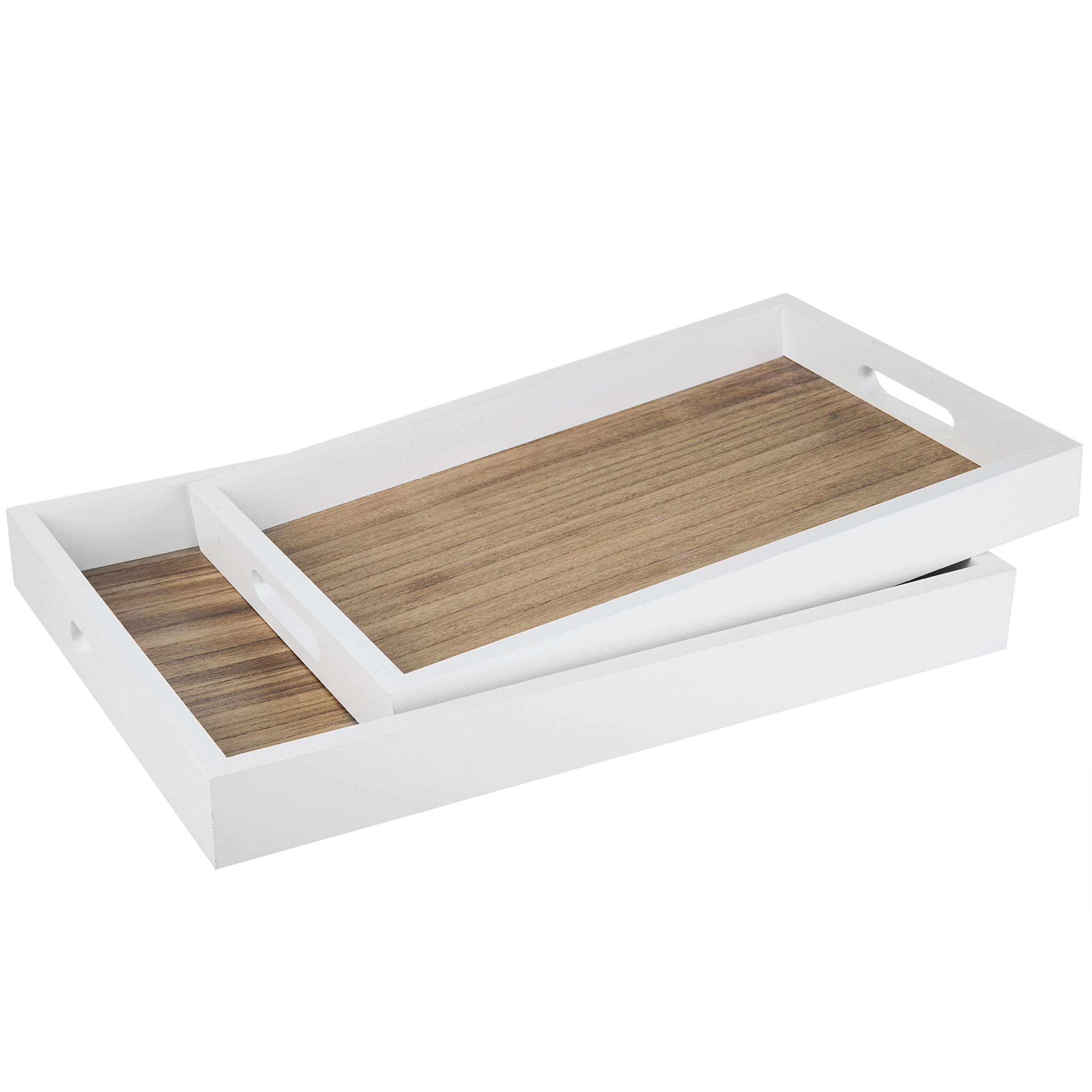 MyGift Decorative Natural Wood Breakfast Serving Tray with Cutout Handles, Brown/White - 16 X 11 Inch, Set of 2