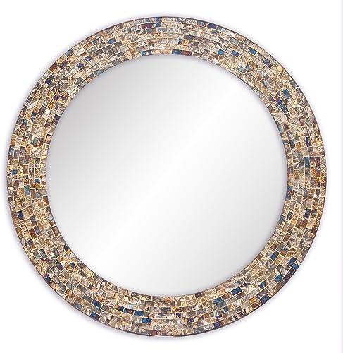 DecorShore 24 Decorative Mosaic Glass Wall Mirror Gold