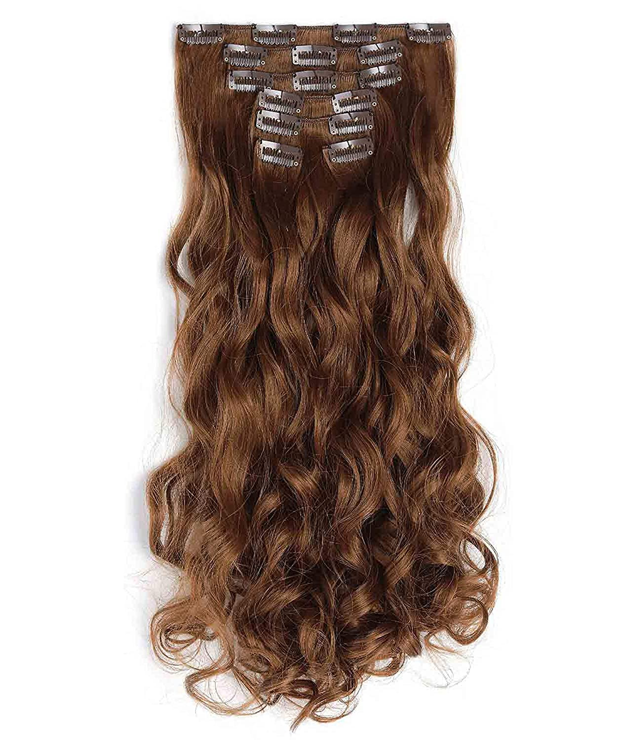 OneDor 20 Curly Full Head Clip in Synthetic Hair Extensions 7pcs 140g (60#-Platinum Blonde) 999