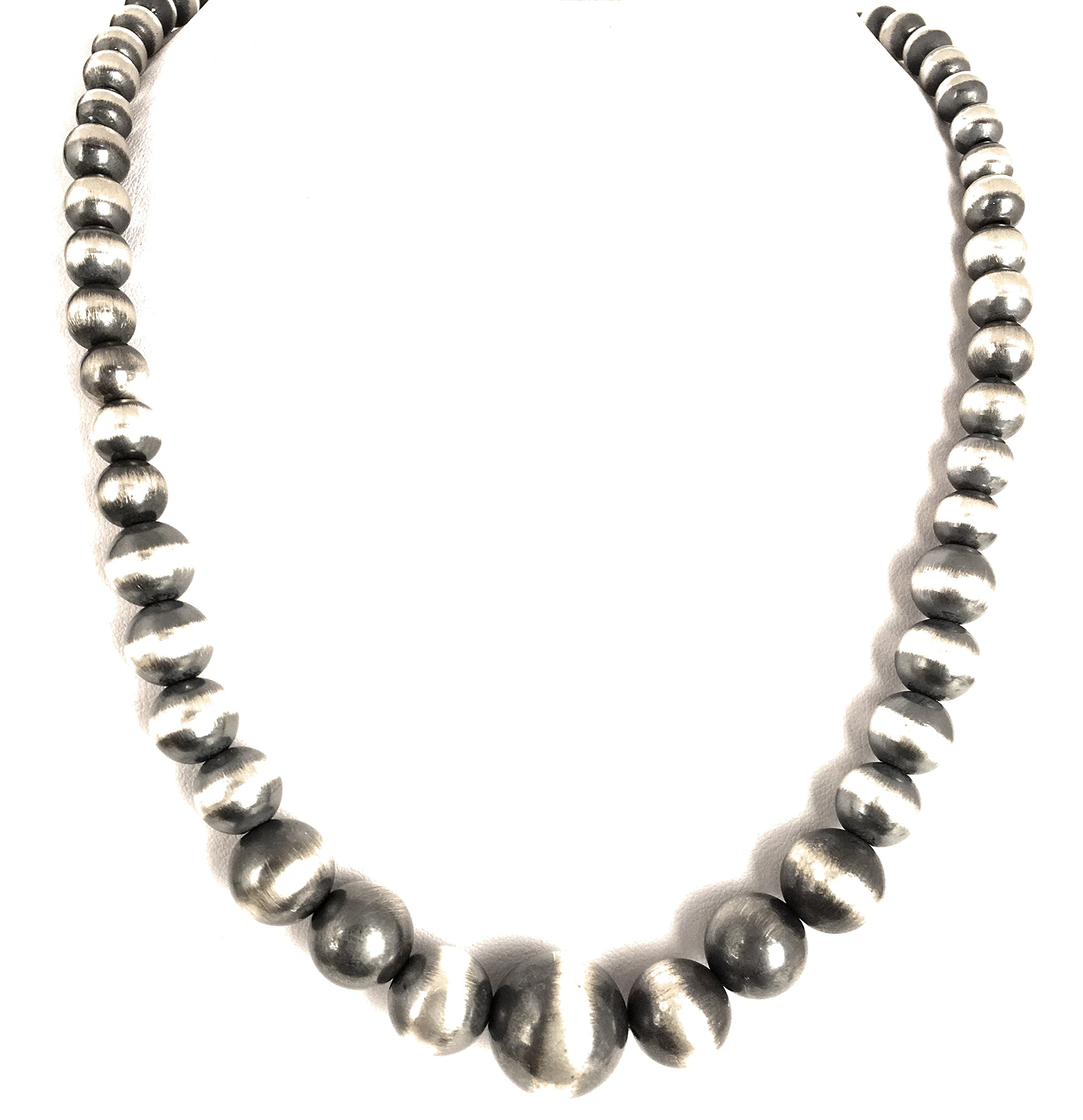 Masha Storewide Sale ! Sterling Silver Necklace By Navajo Pearls Graduated, Made in USA - Exclusive Southwestern Handmade Jewelry, 19'' in Length Gift